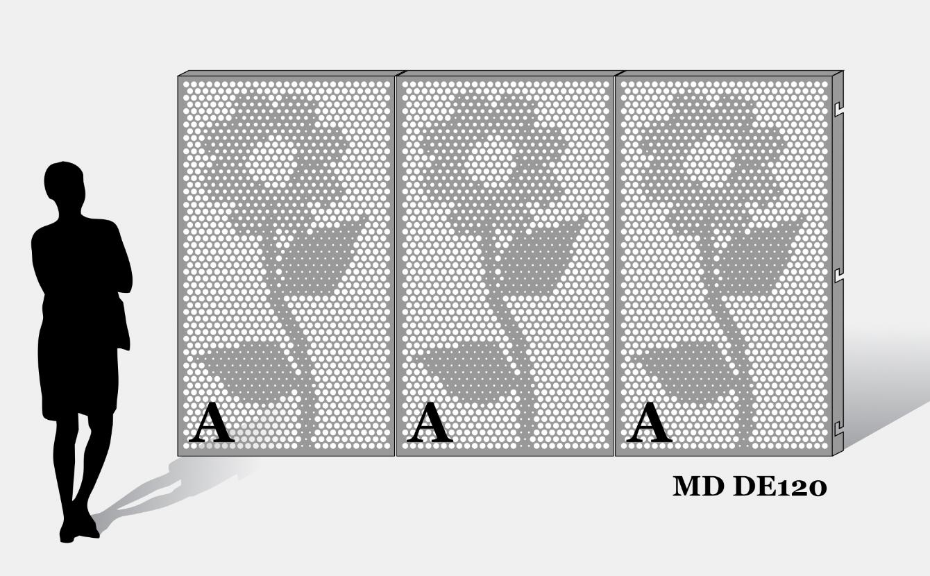 Voorbeeld van MD Designperforatie MD DE120 met 1 patroonafbeelding op elk paneel hetzelfde