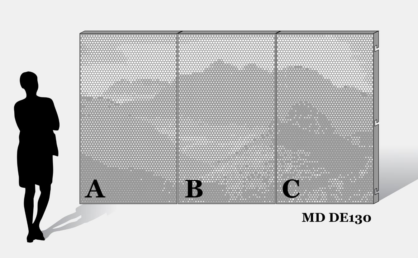 Voorbeeld van MD Designperforatie MD DE130 met een doorlopend patroon op alle panelen