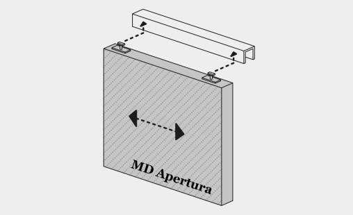 Pictogram van bevestigingssysteem MD Apertura voor MD Shapes gevelbekleding