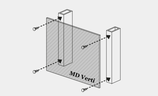 Pictogram bevestigingssysteem MD Verti LR voor gevelbekleding met MD Designperforatie