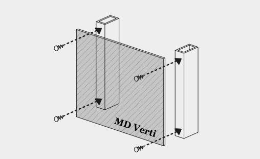 Pictogram van bevestigingssysteem MD Verti vooor MD Shapes gevelbekleding