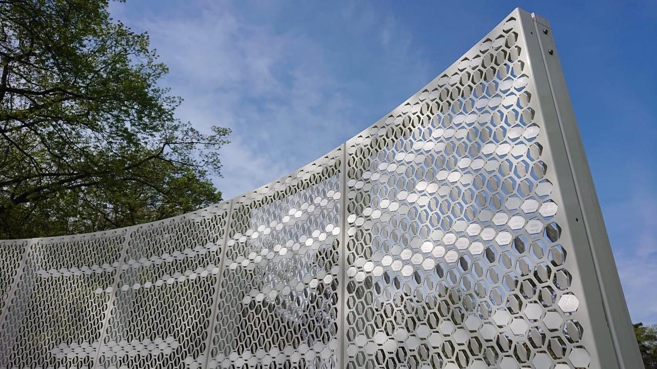 Detail aluminium panelen Wall of Fame Leeuw MD Formatura