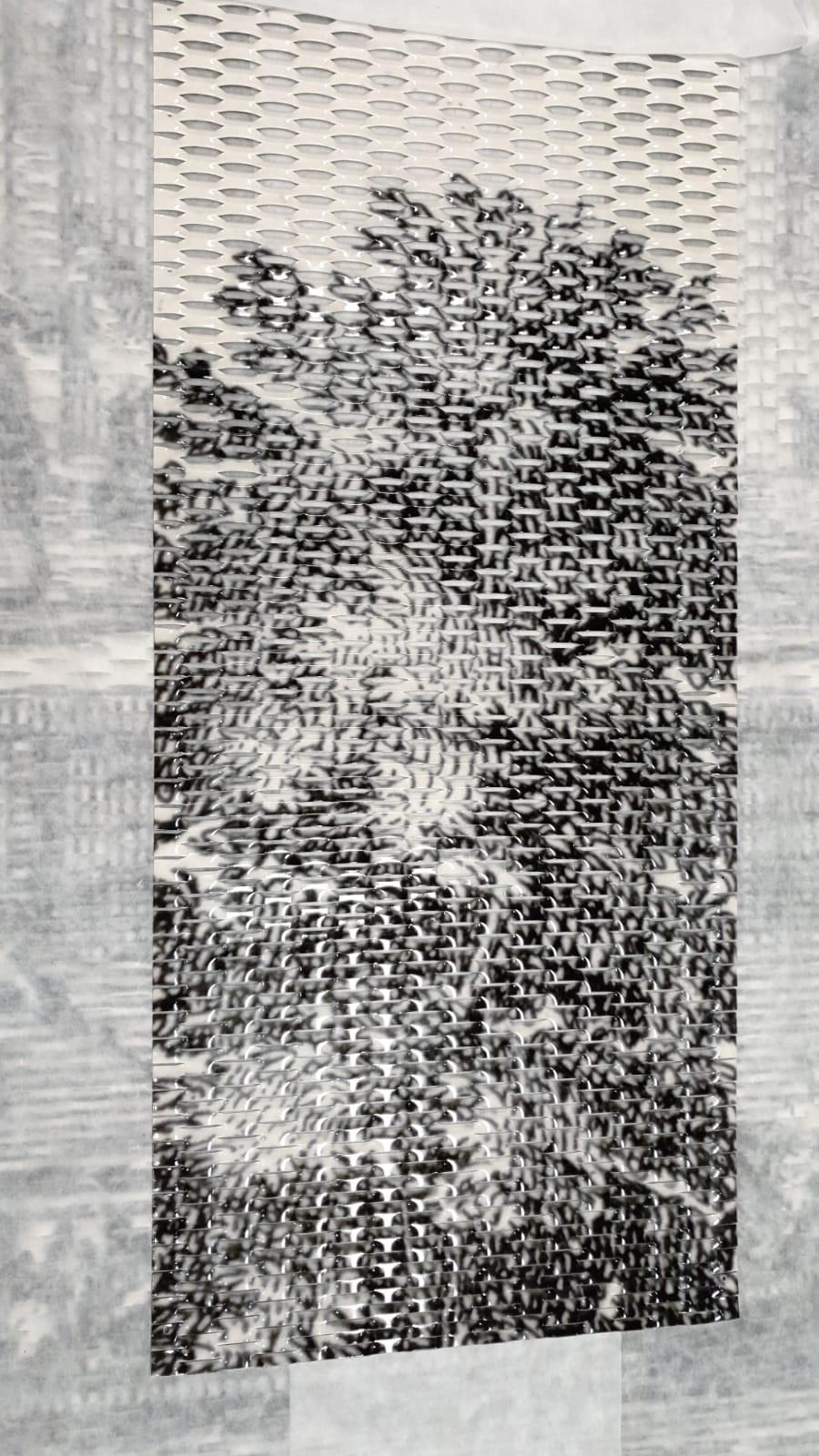 Detail gesublimeerde panelen Paviljoen Zijdebalen