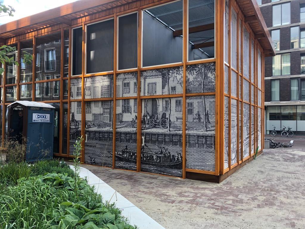 Zijdebalen Paviljoen gesublimeerde strekmetaal panelen patroon