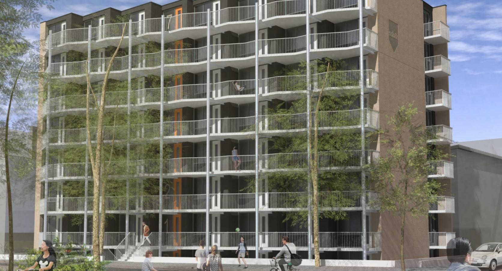 Vooraanzicht Nispenstraat Nijmegen MD Strekmetaal gevel balustrades Metadecor Kampen