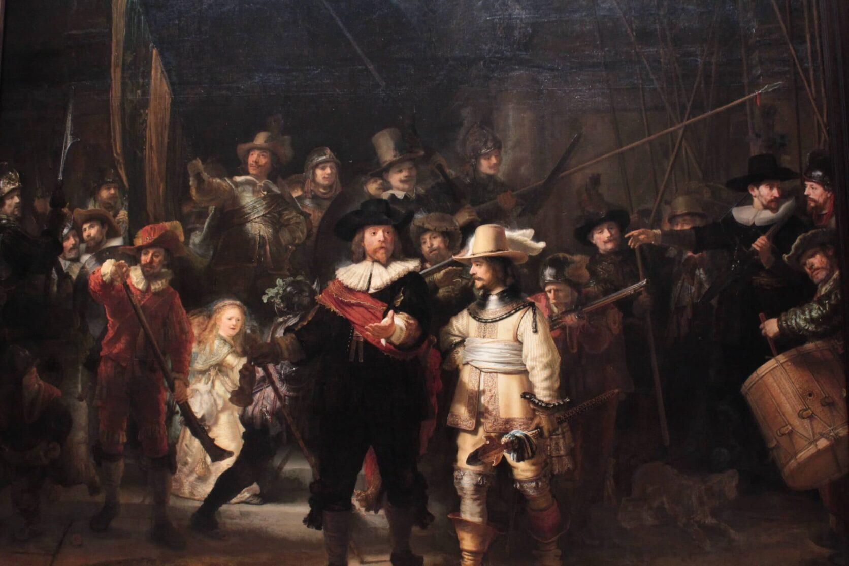 Blog Caroline: Meesterlijk spelen met licht Rembrandt Nachtwacht