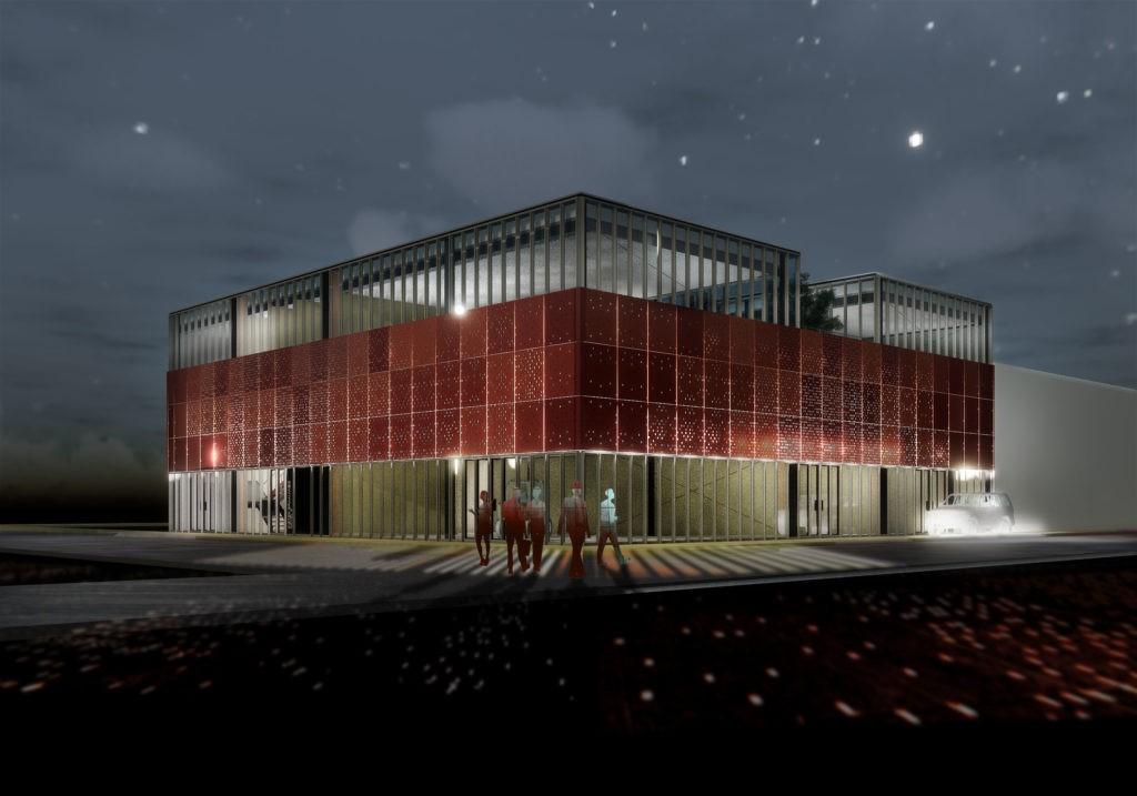 Bedrijfsgebouw Pieter Braaijweg in Amsterdam gevelbekleding MD Designperforatie