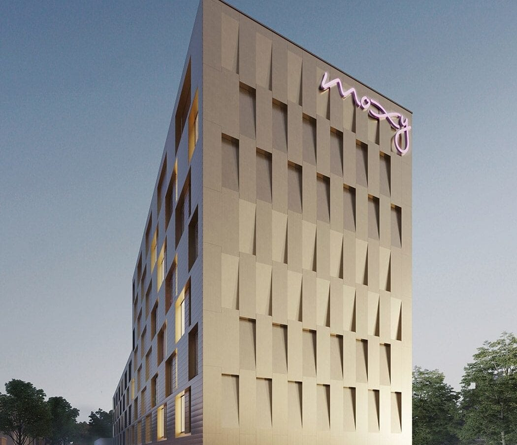MD Flack en MD Strekmetaal gevelbekleding Moxy Hotel in Utrecht