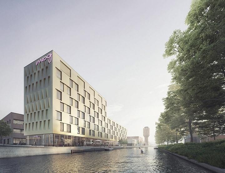 Moxy Hotel in Utrecht gevelbekleding MD Flack en MD Strekmetaal