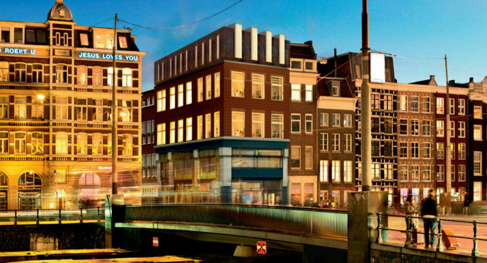 MD Formatura gevelbekleding Prins Hendrinkkade Amsterdam avond