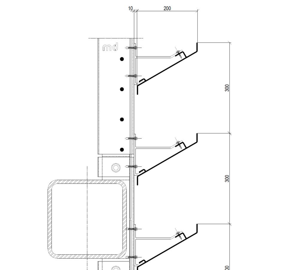 MD LA110 - Bouwkundig bevestiging detail Metadecor H01D
