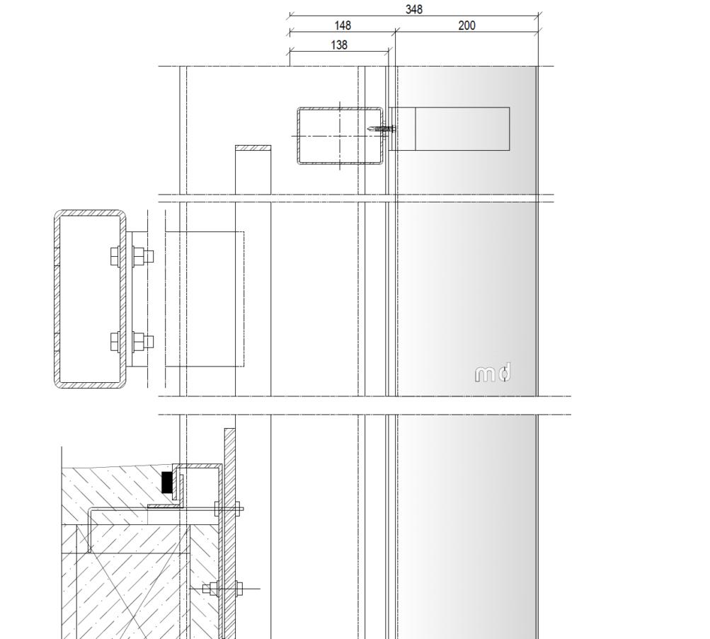 MD LA110 - Bouwkundig bevestiging detail Metadecor V01D