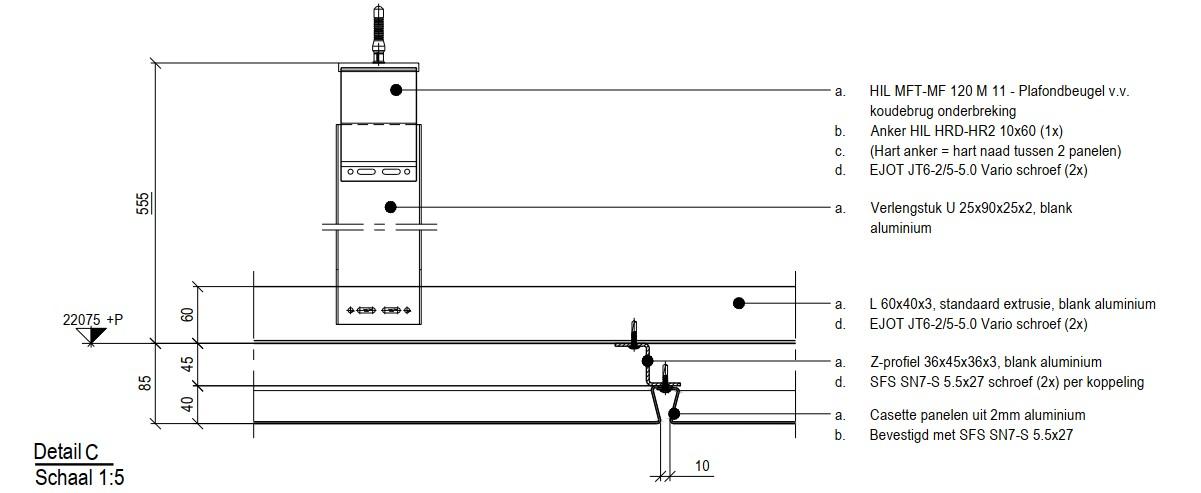 Detail MD Resto - FLR112 gevelbekleding geschroefd